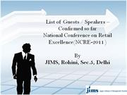 Guests / Speakers at National Conference on Retail Excellence  at JIMS