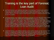 training is the key part of forensic loan audit