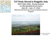 Info Session Study Abroad Brochure for M.Ed