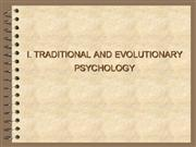 I. Traditional and evolutionary psycholo