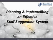 Staff Suggestion System by Allan Ung,Operational Excellence Consulting