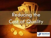 Reducing the Cost of Quality by Operational Excellence Consulting