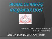 MODE OF DRUG DEGRADATION