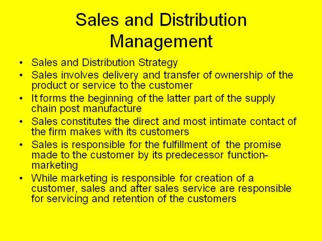 Sales Distribution System Sales And Distribution