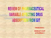 pharmaceutical variable affecting drug absorption through git.
