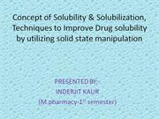 concept of solubility and solubilization