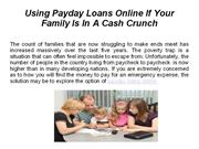 Using Payday Loans Online If Your Family Is In A Cash Crunch