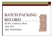 batch packaging record