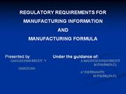 regulatory requirements for manufacturing information and  formula