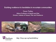 Building resilience to landslides in mountain communities