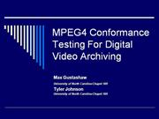MPEG4 Conformance Testing For Digital Vi