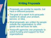 Unit 4 -- Writing Proposals