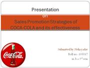 Presentation on Sales Promotion Strategies of COCA-COLA and