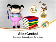CONSULTING 3D GIRL GRAPHIC WITH BOOKS EDUCATION THEME PPT TEMPLATE
