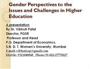 Gender Perspectives in Higher Education by Prof. vibhuti Patel