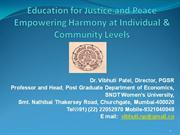 Education for Justice and Peace Empowering Harmony at Individual & Com