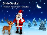 CHRISTIAN SANTA CLAUSE WITH REINDEER NIGHT THEME PPT TEMPLATE