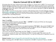 How to Convert 2D to 3D MKV
