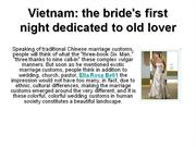 Vietnam: the bride's first night dedicated to old lover