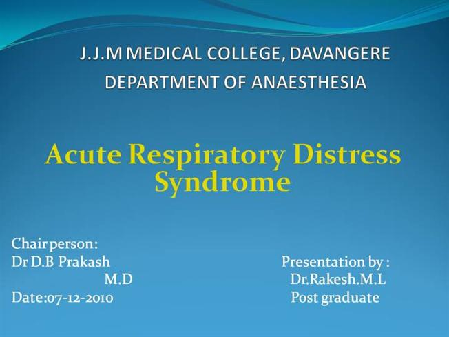 The excellent Adult respiratory distress consider, that