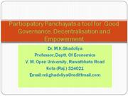 Participatory Panchayats and Good Governance