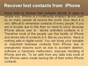 Restore deleted or  lost contacts from iPhone