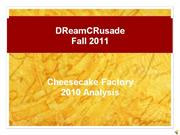 DReam CRusade 2010 Cheesecake Factory Presentation