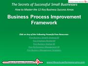 VIDEO:  Business Process Improvement Framework