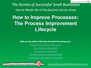 VIDEO:  How to Improve Processes - The Process Improvement Lifecycle