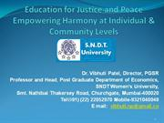 'Education for Justice and Peace Empowering Harmony at Individual & Co