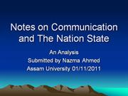 Notes on Communication and The Nation State