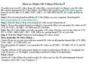 How to Make 3D Videos