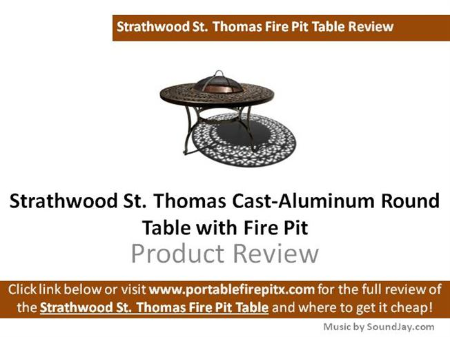 Strathwood St Thomas Cast Aluminum Round Table With Fire Pit Revi