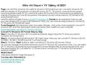How to Convert TV Shows to 3D
