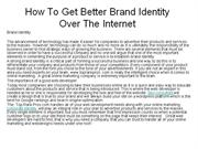How To Get Better Brand Identity Over The Internet