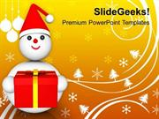 CHRISTIAN CELEBRATE THIS CHRISTMAS WITH SNOWMAN PPT TEMPLATE