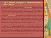 Use of Hospital Management Software according to Janine Zargar