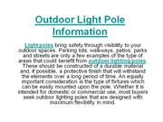 Outdoor Light Pole Information