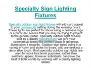 Specialty Sign Lighting Fixtures