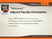 Rochester Institute of Technology - 20112 Adjunct Orientation
