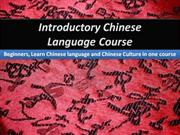 Introductory Chinese Language Course