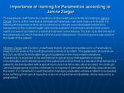 Importance of training for Paramedics according to Janine Zargar