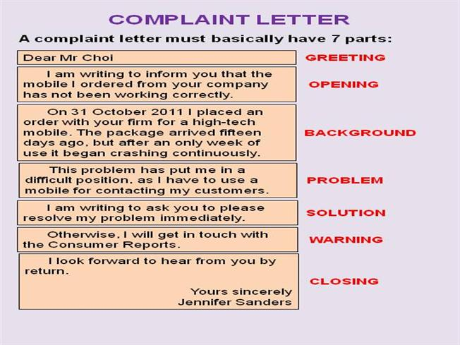 Complaint Letter Authorstream