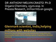 Anthony Crasto Glenmark scientist, helping millions with websites