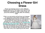 Choosing a Flower Girl Dress