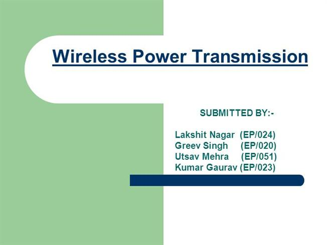 wireless power transmission evolution and developmental A wireless power design kit that makes developing wireless power transmitter solutions or replacing dc input with wireless power inputs quick and easy bq51013b wireless power receiver ic ti's bq51013b is used in portable applications as a secondary-side device for wireless power transfer.