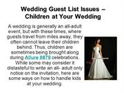 Wedding Guest List Issues – Children at Your