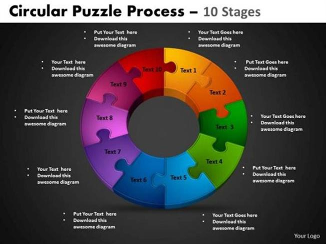 10 stages cycle process project management-powerpoint diagram, Powerpoint templates