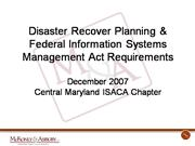 2007 - December - ISACA presentation on