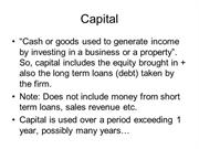 Capital Expenditure and operations